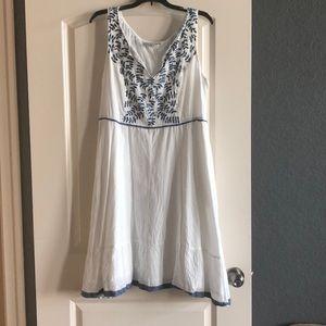 eshakti Dresses - White with blue embroidery and trim sundress